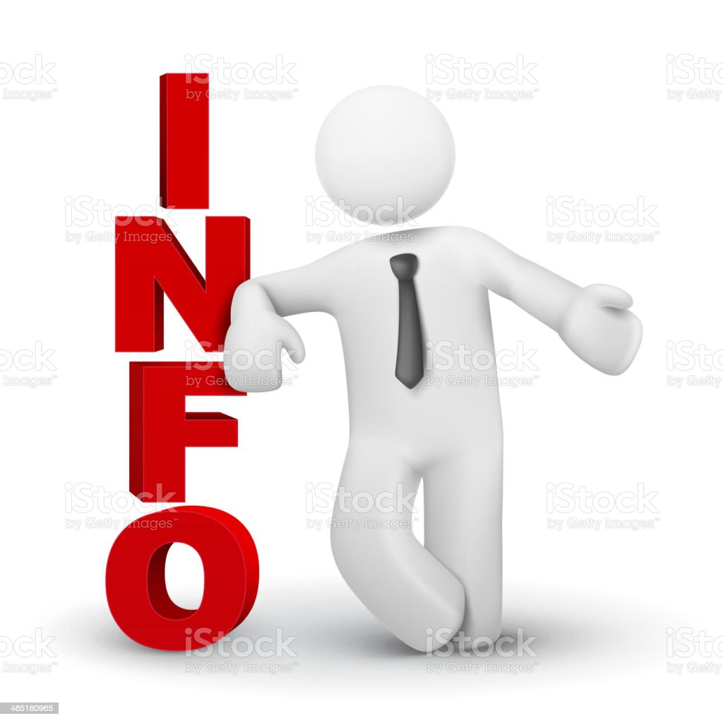3 d homem de negócios apresentando palavra conceito de informações - ilustração de arte em vetor
