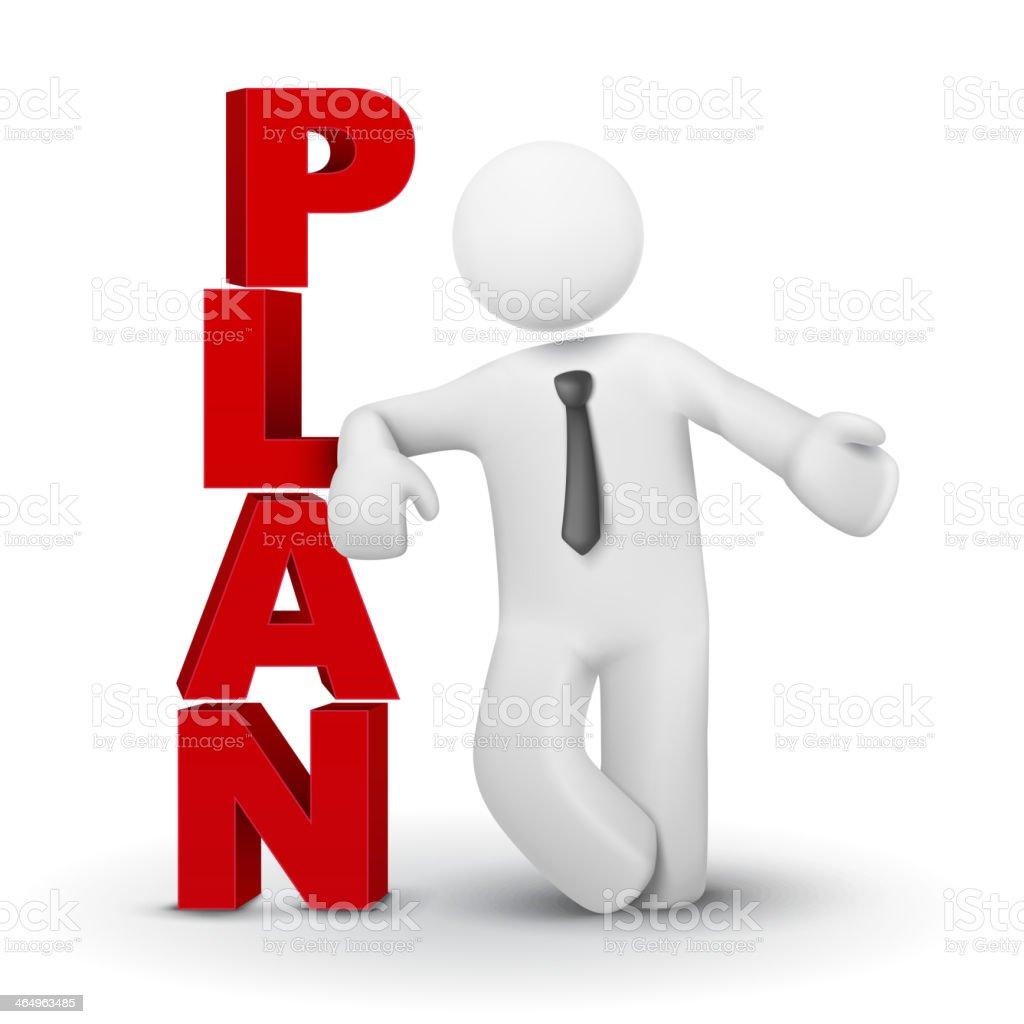 3 d homem de negócios apresentando palavra conceito de plano - ilustração de arte em vetor