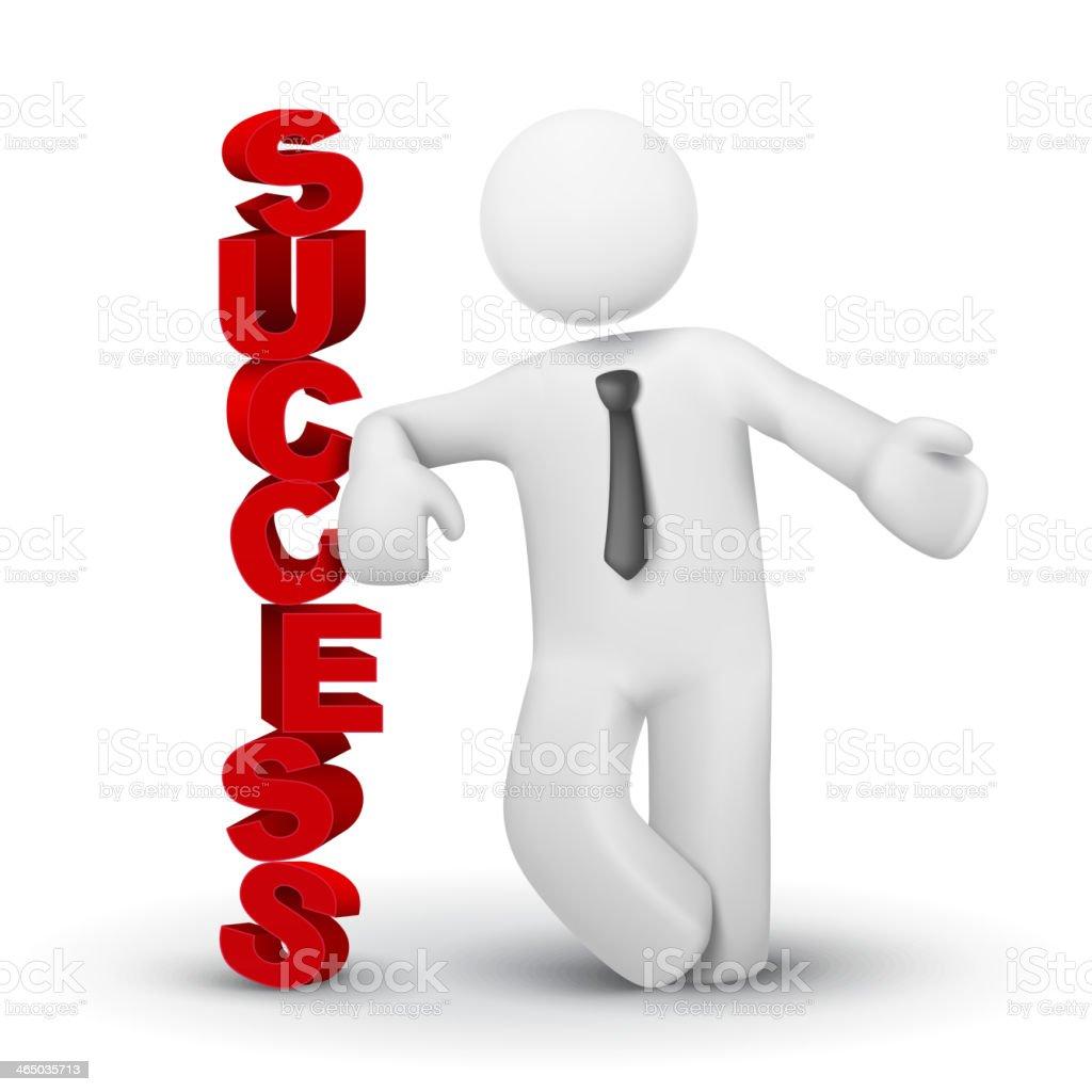 3 d homem de negócios apresentando palavra conceito de sucesso - ilustração de arte em vetor