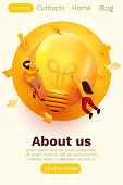 3d Business People with Big Light Bulb Idea. Innovation, Brainstorming, Creativity Concept. Website Landing page. Vector illustration