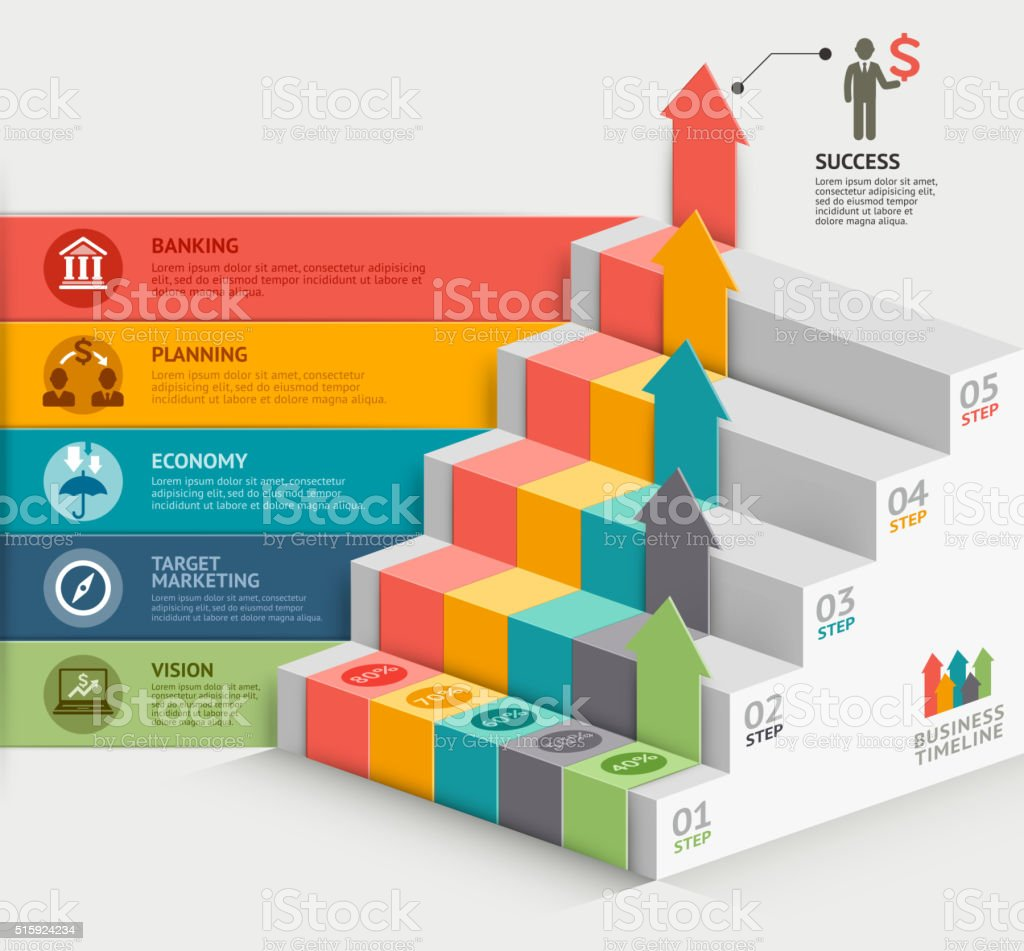 3d business staircase diagram template. vector art illustration