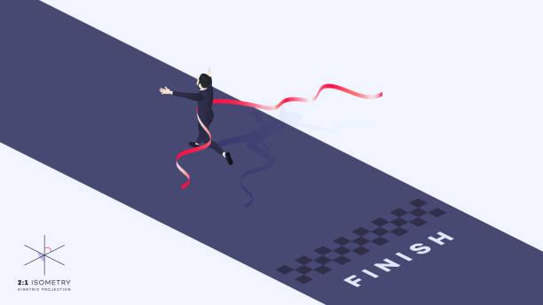 3d Businessman Run Trough Finish Line. He Crosses Finish Line Red Ribbon. 3d Businessman Run Trough Finish Line. He Crosses Finish Line Red Ribbon. Conceptual Isometric Successful Motivation Vector Illustration. finishing stock illustrations