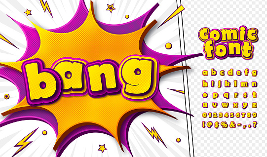 3d cartoon comic font. Kid's alphabet in style of pop art. Multilayer colorful pink-yellow letters on comics book page, speech bubble, burst for decoration of children's illustration, posters, banners