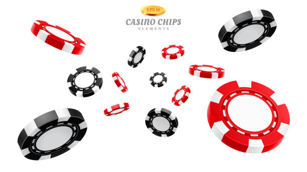 3d casino chips or flying realistic tokens 3d casino chips or flying realistic tokens for gambling, entertainment house volumetric blank or empty cash for roulette or poker, blackjack. Gamble and winner, risk and luck, betting and fortune gambling chip stock illustrations