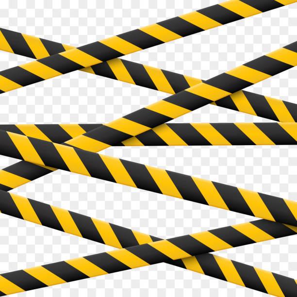 ilustraciones, imágenes clip art, dibujos animados e iconos de stock de líneas de atención 3d aisladas. cintas de advertencia realista. señales de peligro. ilustración de vectores aislado sobre fondo a cuadros - tape
