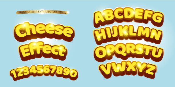 3d Cheese & Comic Lettering Set vector art illustration