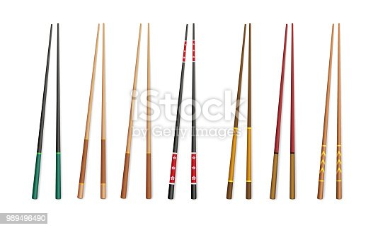 3d chopsticks. Asian traditional bamboo and plastic appliances for eating.