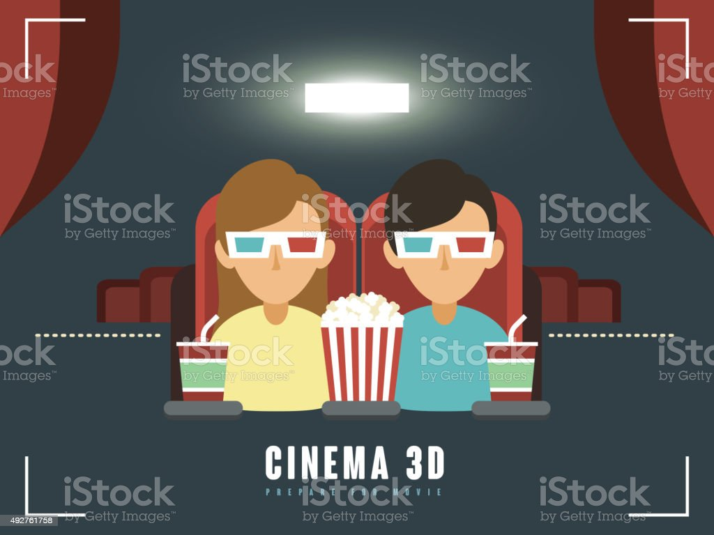 3d cinema concept vector art illustration