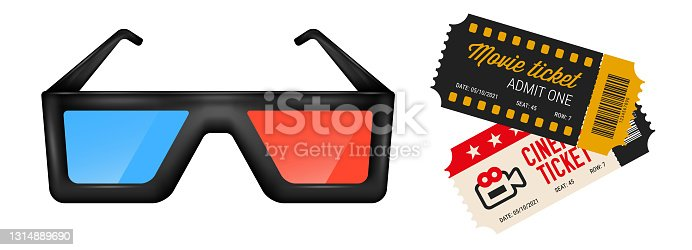 istock 3d cinema glasses and two movie tickets. 3D realistic vector illustration isolated on white 1314889690