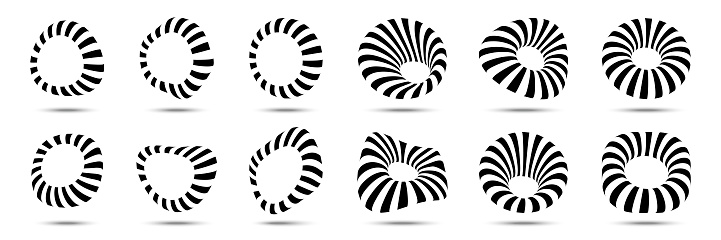 3d circular striped frames set. Three dimensional stripy distort shapes isolated on the white background. Logo design element for technology, medical. Round border using line stripes texture. Vector