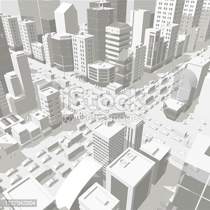 3d city buildings background street In light gray tones. Road Intersection. High detail city projection view. Cars end buildings top view. Vector illustration stock clipart.