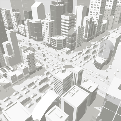 3d city buildings background street In light gray tones. Road Intersection. High detail city projection view. Cars end buildings top view.