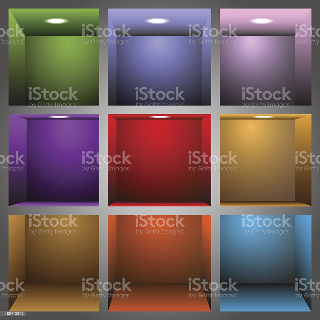 3d colorful shelves vector art illustration