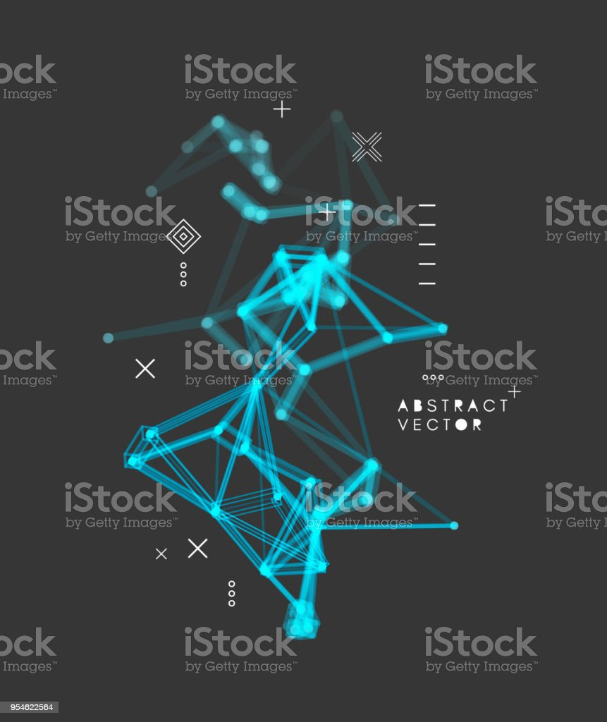 3d connection structure. Futuristic technology style. Vector illustration for science, chemistry or education. vector art illustration