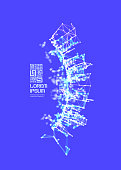 3d connection structure. Virtual abstract background with particles. Futuristic technology style. Vector illustration for science, education, genetic and chemical compounds. Social network.