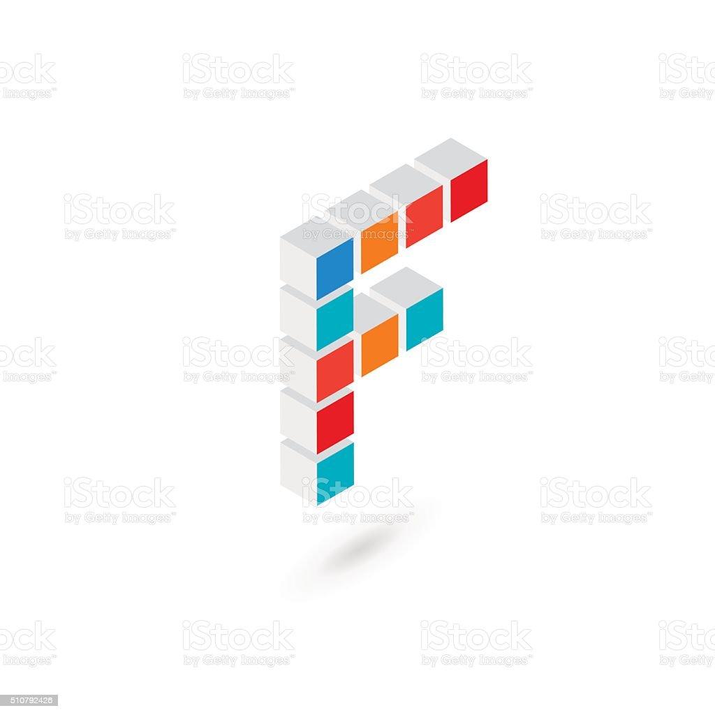 3d cube letter f icon design template elements royalty free 3d cube letter f icon
