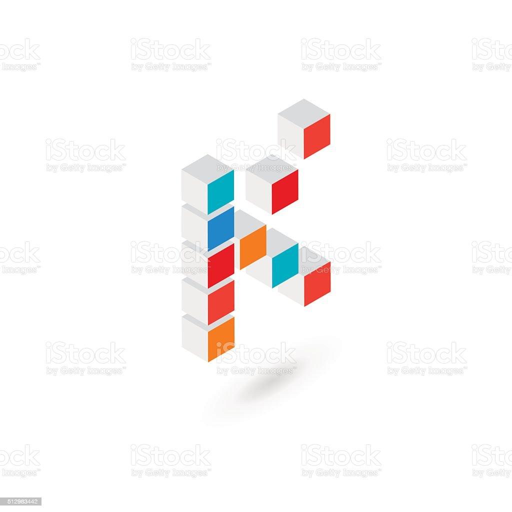 3 d キューブ状 k アイコンのデザインテンプレート要素 3dのベクター