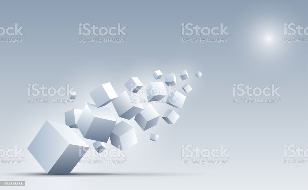 3d cubes floating into the light. Science and technology background. Big data and Internet. Abstract background. Vector illustration. royalty-free 3d cubes floating into the light science and technology background big data and internet abstract background vector illustration stock vector art & more images of abstract