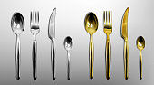 3d cutlery of golden and silver color fork, knife, spoon and teaspoon. Silverware and gold utensil, catering luxury metal tableware top view isolated on grey background, Realistic vector illustration