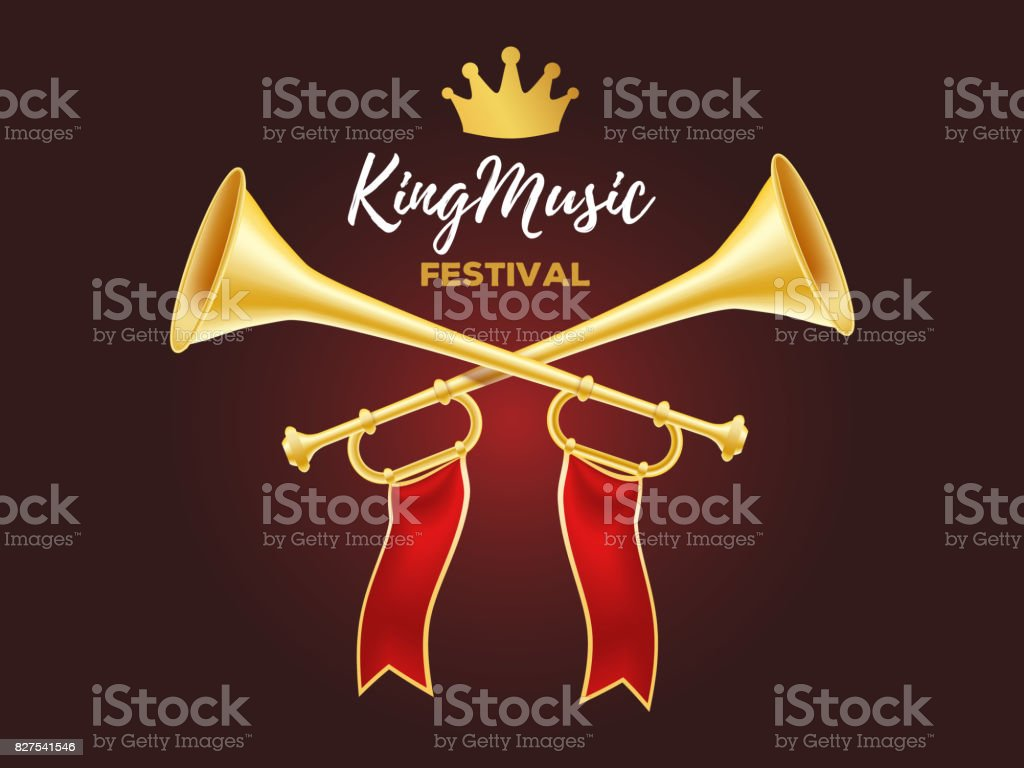 3d design of shiny golden metal horn. Realistic vector illustration of crossed trumpet with red ribbon, crown and text on dark background. vector art illustration
