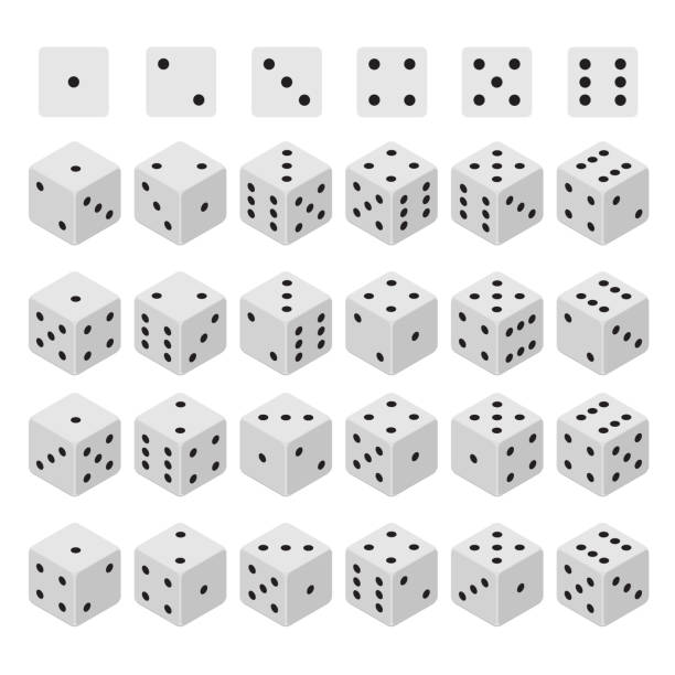 3d dice combinations set isometric view. vector - dice stock illustrations, clip art, cartoons, & icons