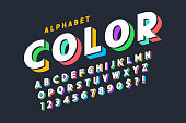 3d display font design, alphabet, letters and numbers. Swatch color control