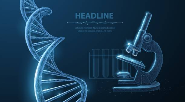 3d dna molecule helix spiral model and microscope. vector art illustration