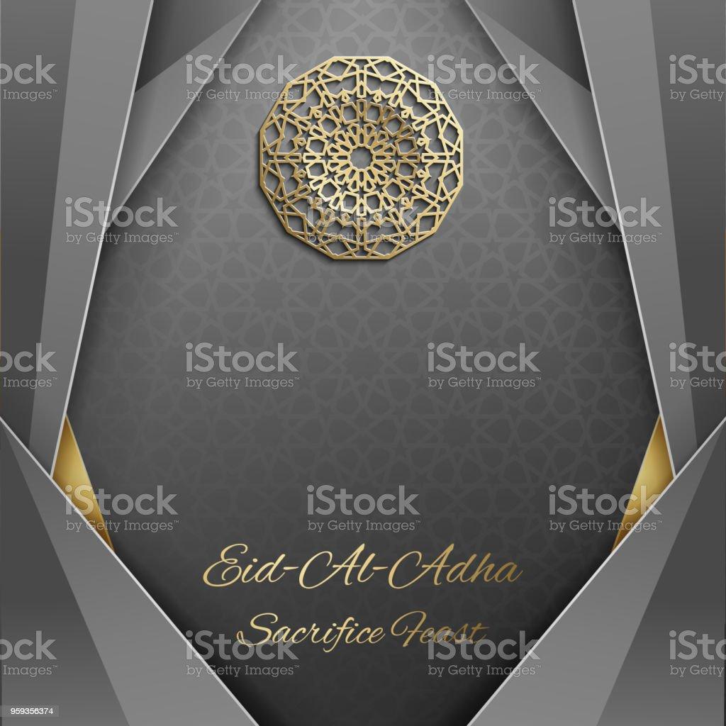 3d Eid al Adha greeting card,invitation islamic style.Arabic circle golden pattern.Gold ornament on black,islamic brochure vector art illustration