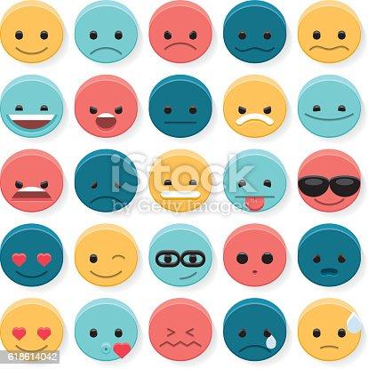 A set of 25 flat 3d emoji.