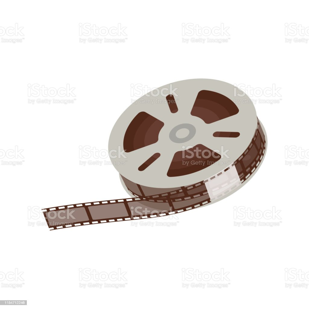 3d Empty And Blank Reel Of Movie 35 Mm Negative Film Strip