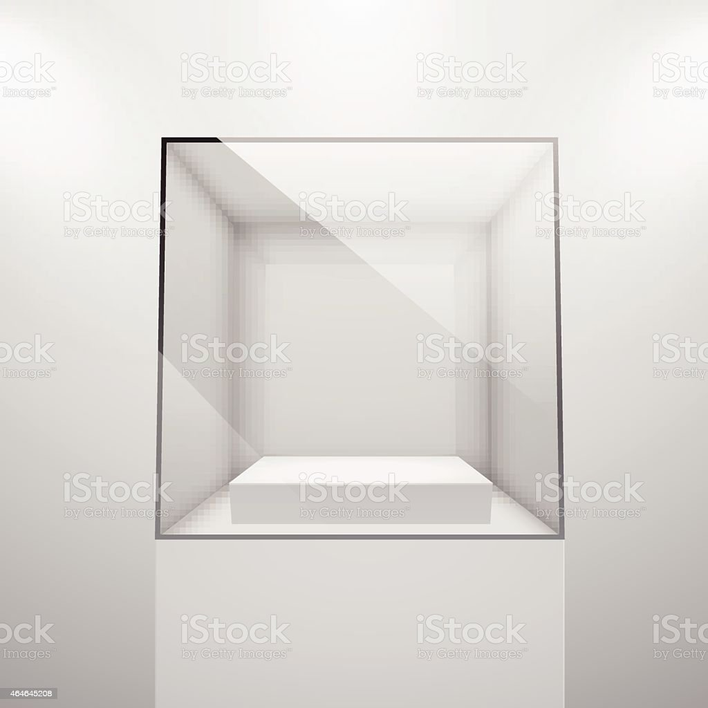 3d Empty glass showcase vector art illustration