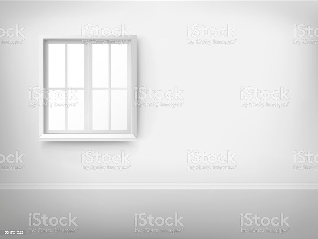 3d empty room with window vector art illustration