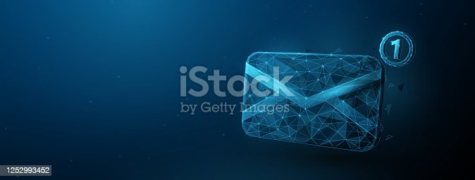 istock 3d Envelope Email, Message Vector Icon. Low Poly Style with Wireframe Light Connection Structure. Isolated Vector Illustration 1252993452