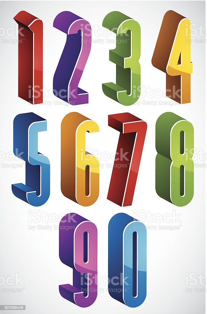 3d Extra Tall Numbers Set Made With Round Shapes Stock