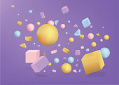 3d figures realistic vector primitives composition abstract minimalism with flying objects and  shapes in motion isolated on purple background. Material design for web and print futuristic decoration