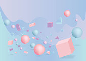 3d figures realistic vector primitives composition abstract minimalism with flying objects and  shapes in motion isolated on blue background. Material design for web and print futuristic decoration