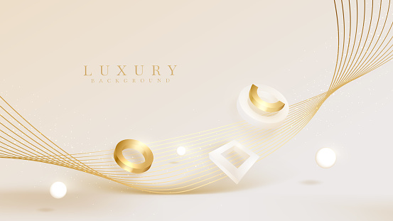 3d geometric shapes background luxury on golden line element, cream pastel color scene, realistic concept, Illustration from vector about modern template design that feels precious and expensive.