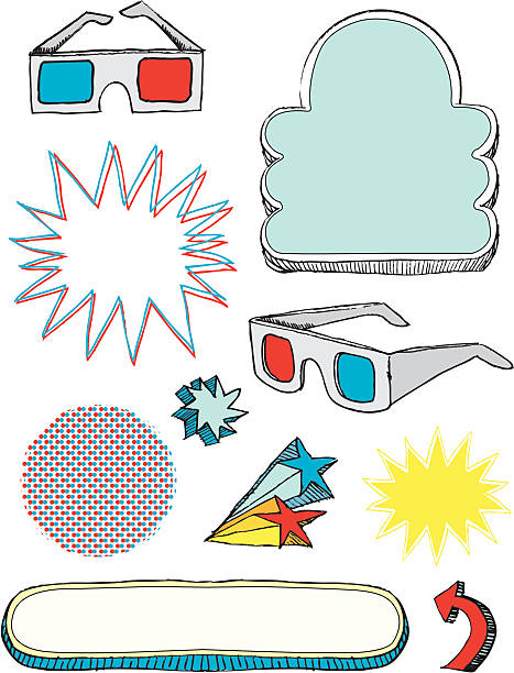 3 d-Brille und design-Elemente – Vektorgrafik