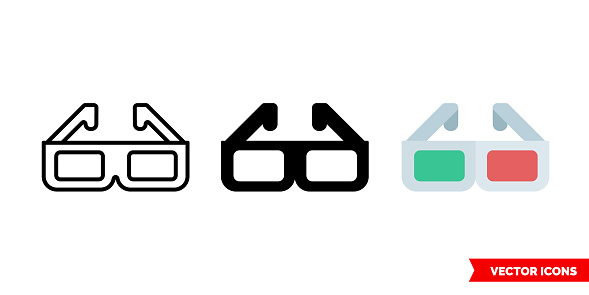 3d glasses icon of 3 types. Isolated vector sign symbol