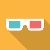 3d glasses icon with long shadow.