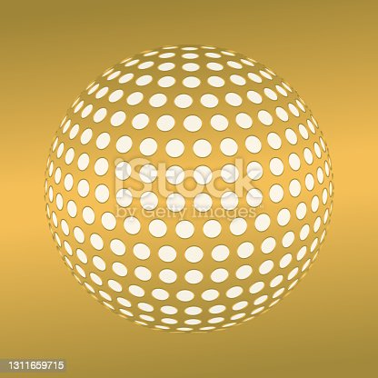 istock 3d globe covered by large circles, with perspective. Golden colors. 1311659715