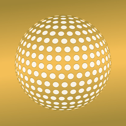 3d globe covered by large circles, with perspective. Golden colors.