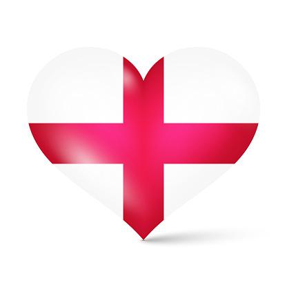 3d glossy heart shape national flag of England vector illustration