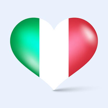 3d glossy heart shape national flag of Italy vector illustration
