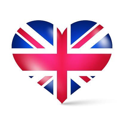 3d glossy heart shape national flag of United Kingdom vector illustration