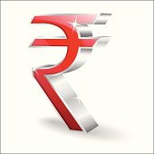 3d Glossy Indian Rupee Vector Icon
