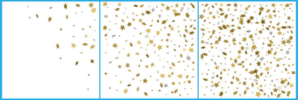 3d gold and silver stars confetti celebrations. Simple festive modern design. Holiday vector. Set 3 in 1 vector art illustration