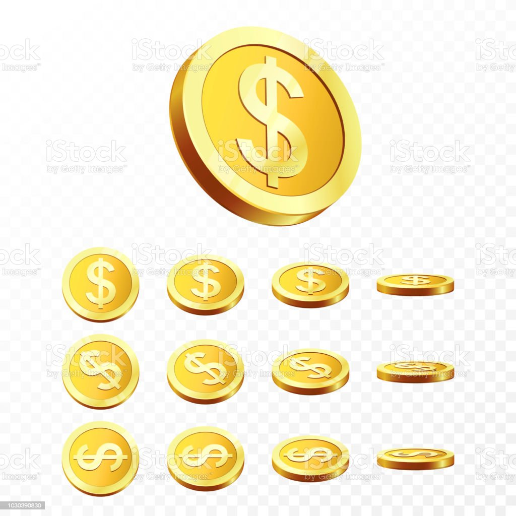 3d Gold Coins Illustration Realistic Coin On Transparent Background Vector Royalty Free
