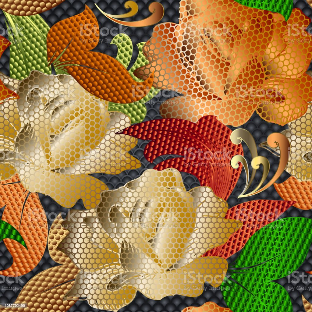 3d gold lace textured roses vector seamless pattern. Vintage floral...