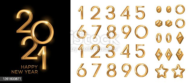 3d gold numbers set in vintage style. Vector illustration. Minimal invitation design for Christmas and New Year 2021 with retro elements circle, star and baubles, alphabet typeface glowing text